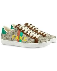 Gucci - 'fake/not' Print Ace Sneakers - Lyst