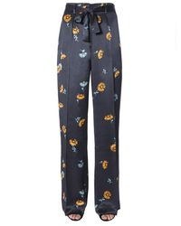 Equipment Floral Print Flared Pants - Blue