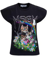 MSGM Jersey T-shirt With Cat Print - Black