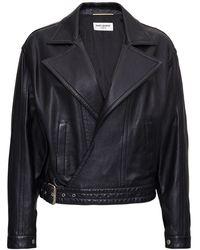 Saint Laurent Plonge Classic Leather Jacket - Black