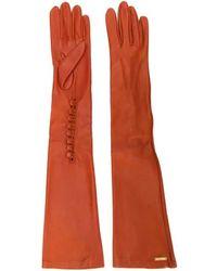 DSquared² Calf Leather Long Gloves - Orange