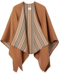 Burberry Icon Stripe Wool Poncho - Natural