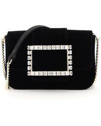 Roger Vivier Très Vivier Velvet Bag Jewel Buckle Micro - Black