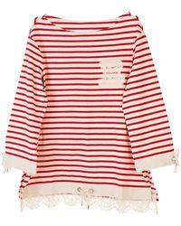 Ermanno Scervino Red And White Sweatshirt
