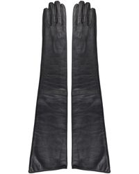 MM6 by Maison Martin Margiela Leather Gloves - Black