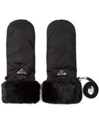 Prada Fur And Leather Gloves - Black