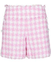 Balmain Pink And White Cotton Blend Shorts