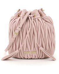 Miu Miu Quilted Shoulder Bucket Bag - Pink