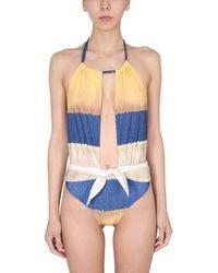 Alberta Ferretti One Piece Swimsuit With Tie Dye Print - Blue