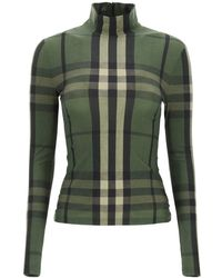 Burberry High Neck Top With Check Motif - Green
