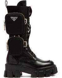 Prada Monolith Combat Boots - Black