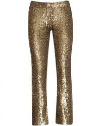 Balmain Cropped Sequined Stretch-tulle Flared Trousers - Multicolour