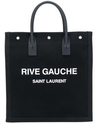 Saint Laurent Rive Gauche Tote Bag Black/white