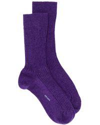 Prada Ribbed Logo Socks - Purple