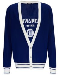 Balmain Wool Cardigan With Back Logo - Blue