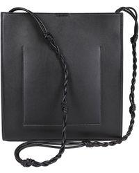 Jil Sander Black Leather Tangle Crossbody Bag