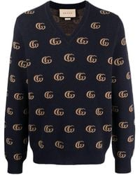 Gucci Double G Jacquard Wool V-neck Sweater - Blue