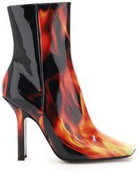 Vetements Flames Print Boomerang Boots - Multicolour