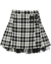 RED Valentino Tartan Kilt Mini Skirt 38 Wool - Black