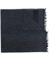 Fabiana Filippi Metallic Threaded Frayed Edge Scarf - Blue