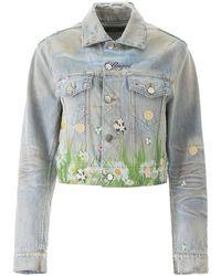 Amiri Printed Denim Jacket - Blue