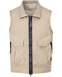 C.P. Company C. P. Company Tech Fabric Vest Gilet - Natural