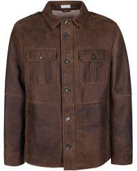 Brunello Cucinelli Brown Leather Jacket