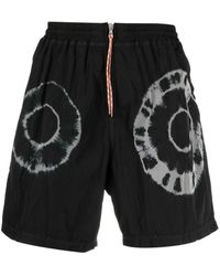 Aries Tie-dye Print Shorts - Black