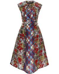 Chopova Lowena Flocked Midi Dress - Red