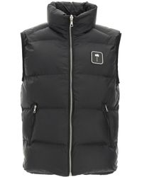 Palm Angels Puffer Vest With Palm Tree Logo - Black