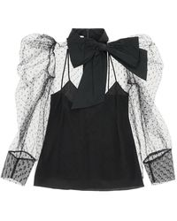 RED Valentino Taffeta And Point D'esprit Tulle Blouse 40 - Black