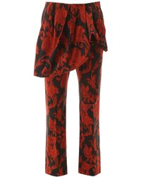 Dries Van Noten Floral Trousers With Peplum - Red