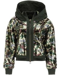 Mr & Mrs Italy Camouflage Sequined Bomber Jacket - Green
