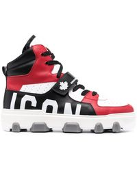DSquared² Panelled High-top Trainers - Red