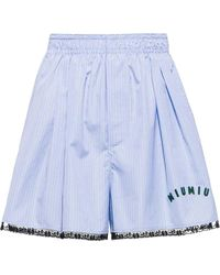 Miu Miu Check-print Poplin Shorts - Blue