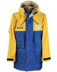 Burberry Parkhurst - Globe Graphic Color Block Technical Twill Jacket - Blue