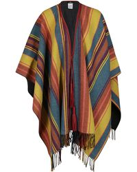 Etro Multicolour Wool Cape - Red