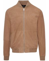 Brian Dales Beige Leather Outerwear Jacket - Brown