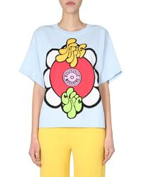 Boutique Moschino - Crew Neck Cotton Knit T-shirt With Hippie Insert - Lyst
