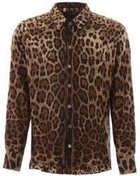 Dolce & Gabbana Leopard Pajama Shirt - Brown