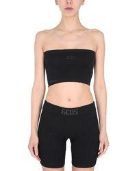 Gcds Banded Top With Logo Patch - Black