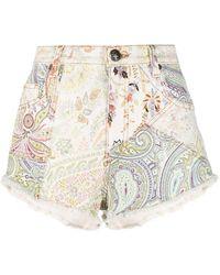 Etro Paisley-print Denim Shorts - White