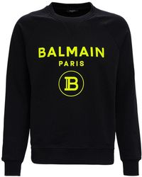 Balmain Cotton Sweatshirt With Fluo Logo Print - Black