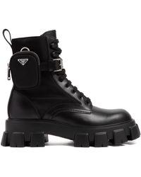 Prada Mens Black Monolith Re-nylon Combat Boots