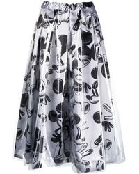 Comme des Garçons Elasticated Mickey Mouse-print Skirt - Grey