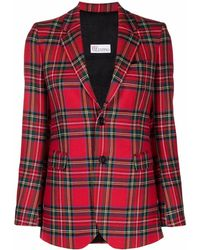 RED Valentino Tartan Single-breasted Blazer - Red