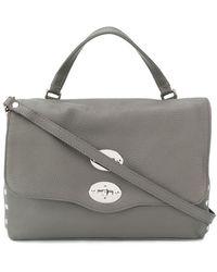 Zanellato Foldover Top Shoulder Bag - Grey