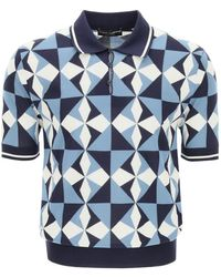 Dolce & Gabbana Geometric Patterned Polo Shirt - Blue