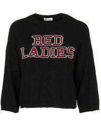 "RED Valentino ""red Ladies"" Intarsia Angora Sweater - Black"