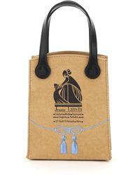 Lanvin Mini Tote Bag With Grocery Logo Print - Multicolour
